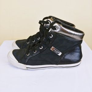 Coach Black and Silver High Top Monogram Sneakers